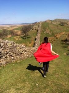 Lydia, on patrol, checking out Hadrian's handiwork
