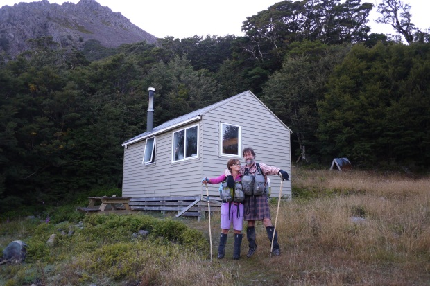 Finny and Fi at Mount Rintoul hut