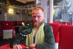 Tired Dino Danny pre-coffee