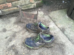 Muddy trainers off at the pub for a cheeky morning pint of ale
