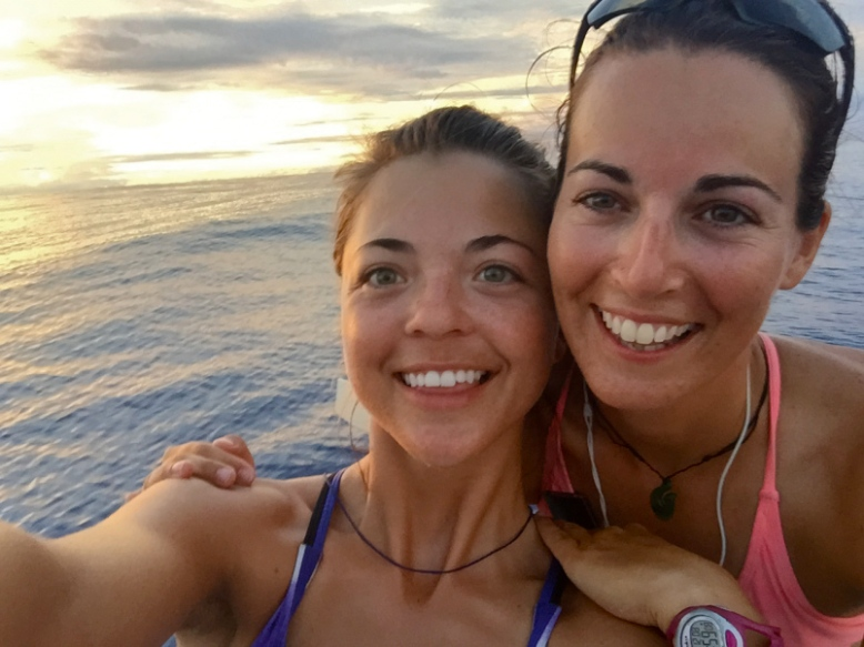 Laura and crewmate Meg, out on the vast Pacific Ocean.
